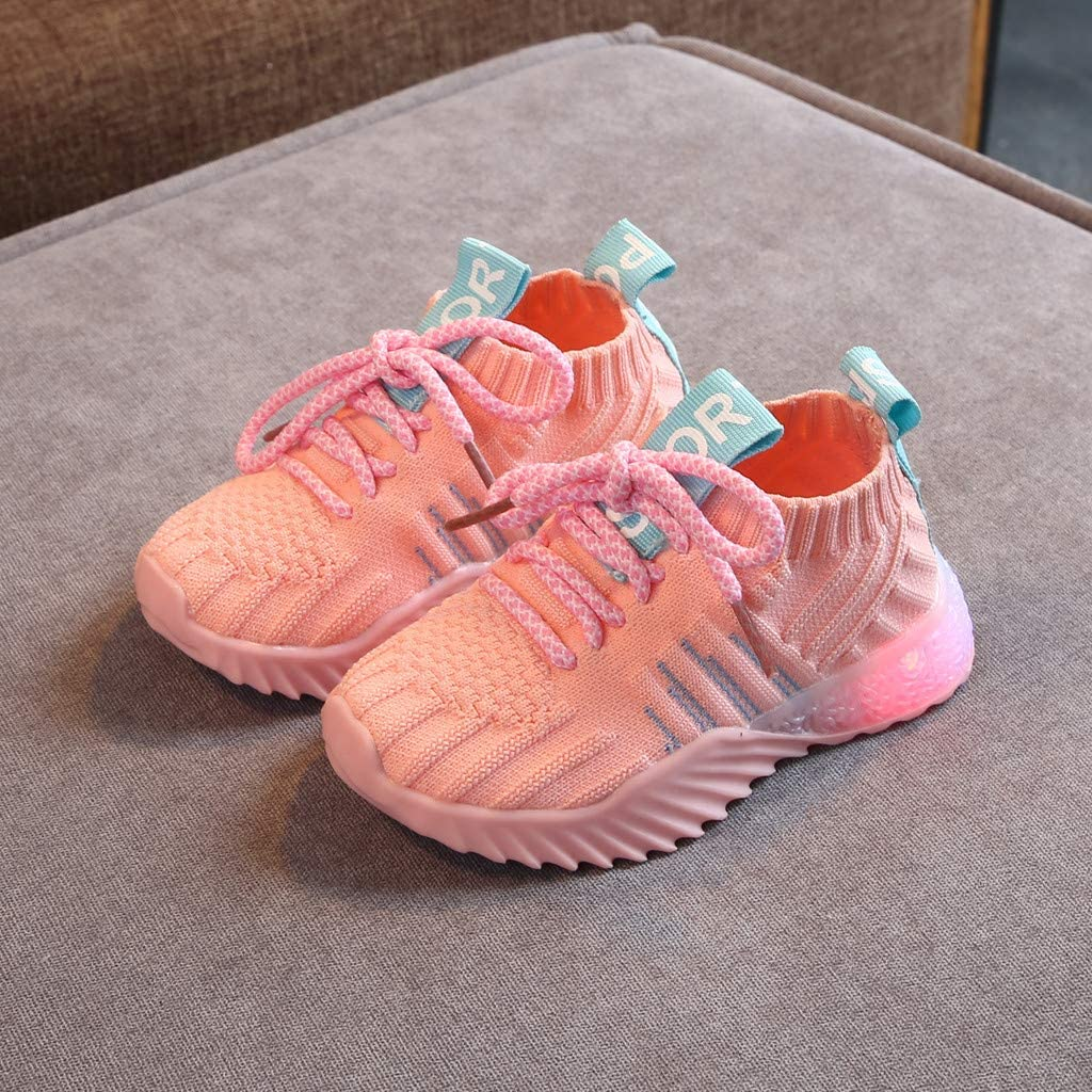 Bolayu Baby Girl Sport Mesh Breathable Flashing Led Sneakers Kid Casual Fashion Walking Running Soft Sneaker Shoes