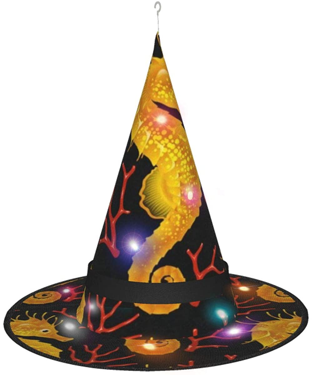 Witch Hat Gold Hippocampus and Red Coral On Black Halloween Costume Wizard Hat Outdoor Garden Decor