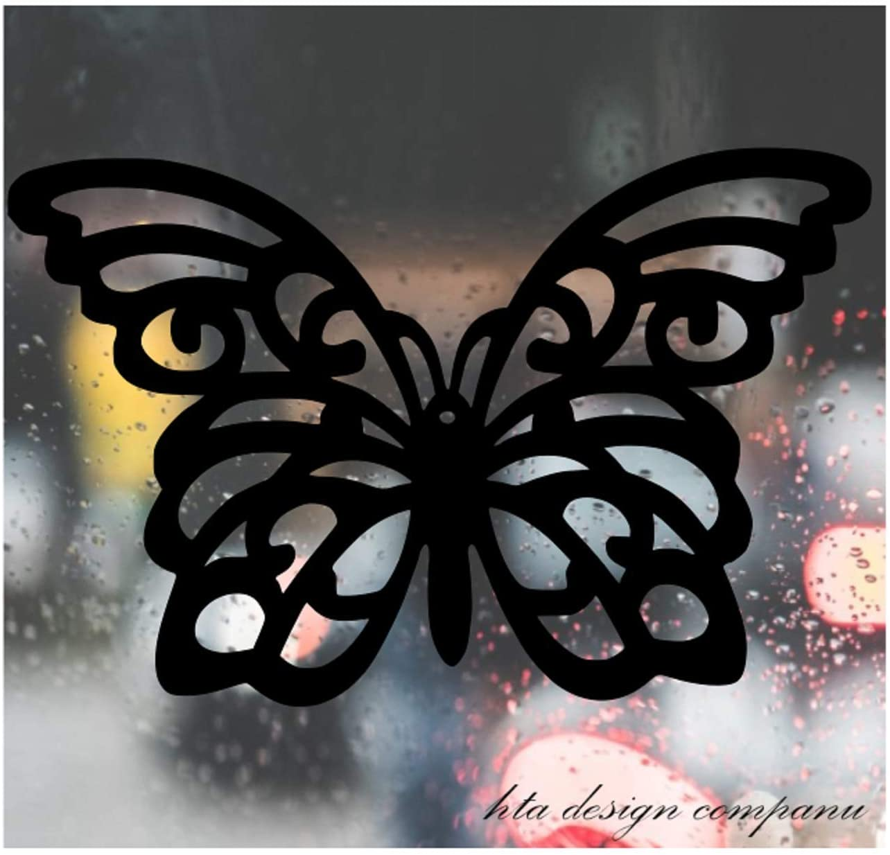 HTA Custom Decal Car for Butterfly with Spread Wings, Art Decal for Car, Truck, Jeep, Window, Motorcycle, Motorcycle, Helmet, Bumper, Decal for Laptop, Phone, Home Decoration / 5 in x 3 in/Black