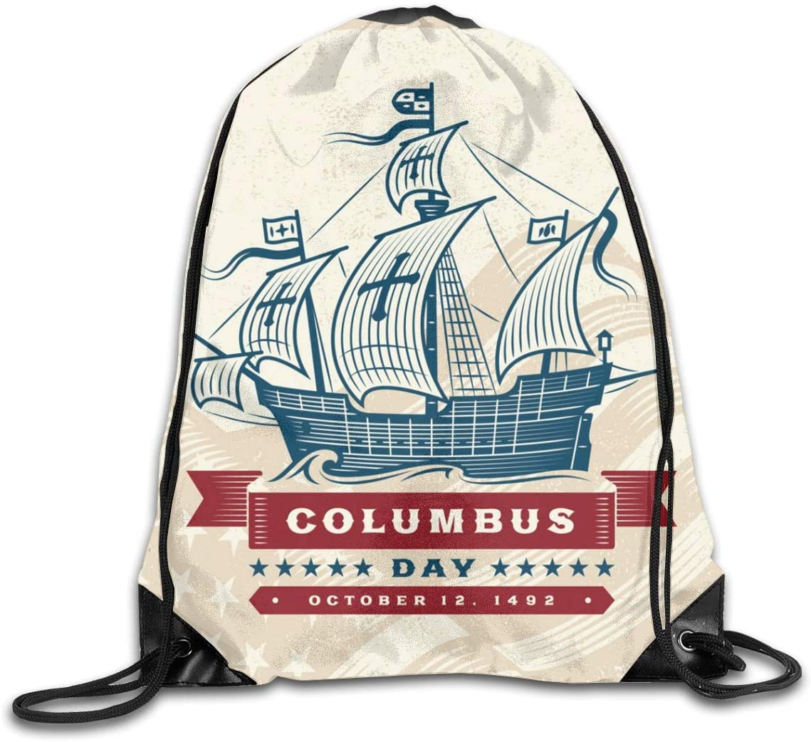 Gym Drawstring Bags Backpack Columbus Day Sackpack Tote For Traveling Storage Shoe Organizer Basketball Shopping Student