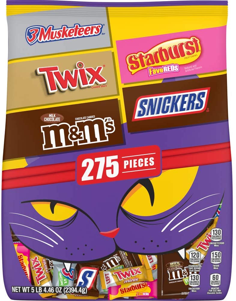 M&M'S Peanut, Snickers, Twix, 3 Musketeers & Skittles Cauldron Halloween Candy Variety Mix