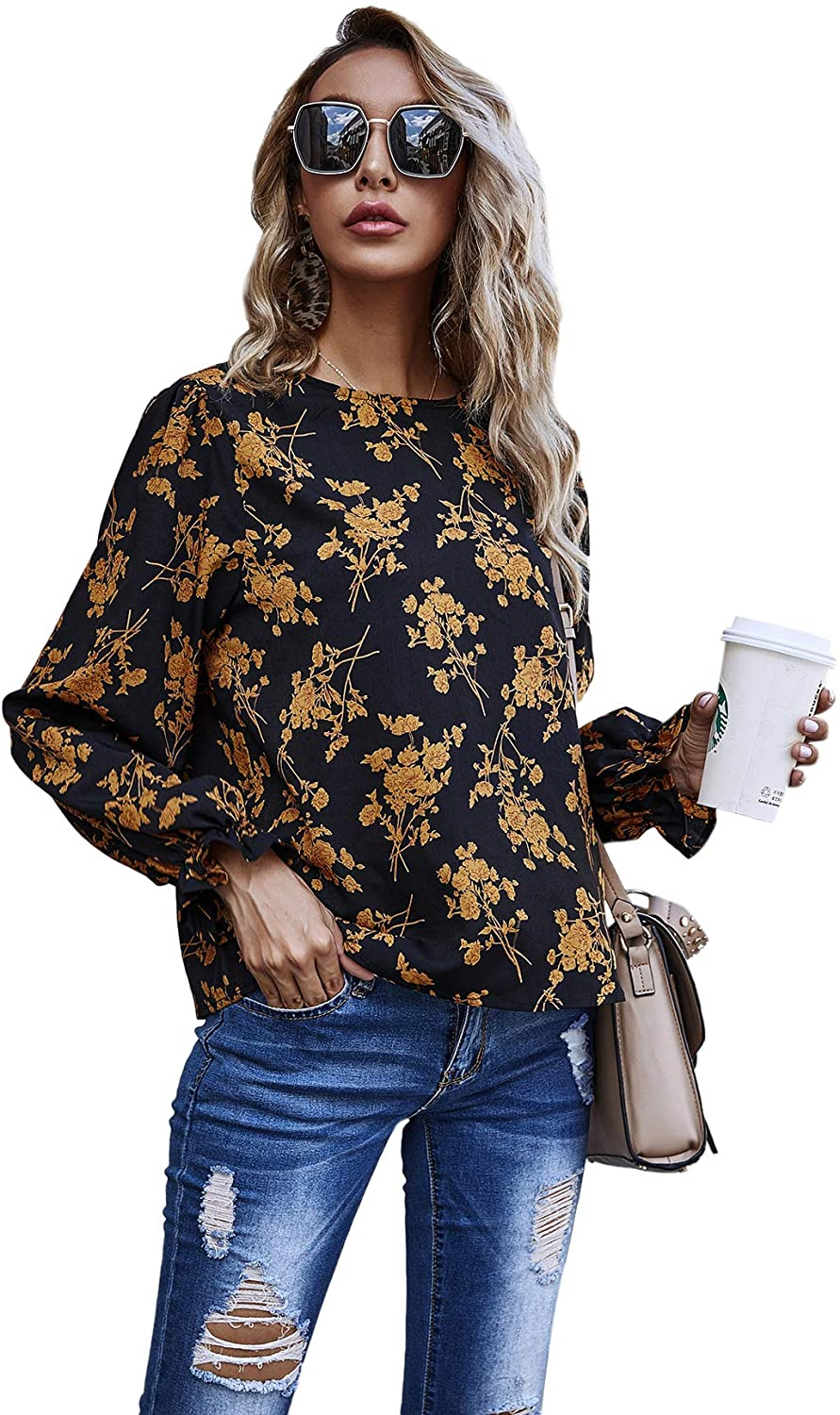 Milumia Women's Casual Floral Print Flounce Long Sleeve Round Neck Keyhole Back Blouse Tops