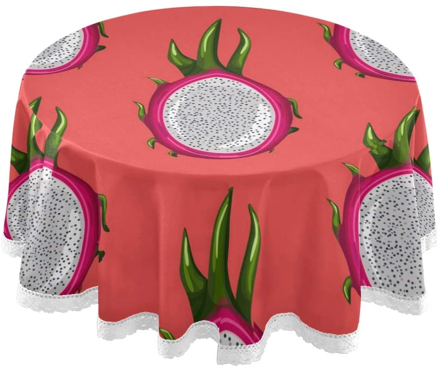 MCHIVER Table Cloth Round Tablecloths 60 Inch - Red Dragon Fruit Tropical Polyester Circular Table Mat for Dinner Holiday Banquet Wedding Birthday Party