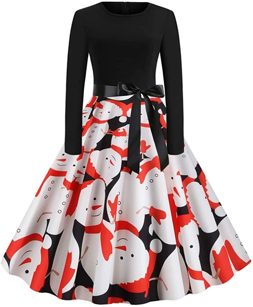 Odeal Women's Christmas Snowman Print Retro Round Neck Long Sleeve Big Swing Dress Orange M Size