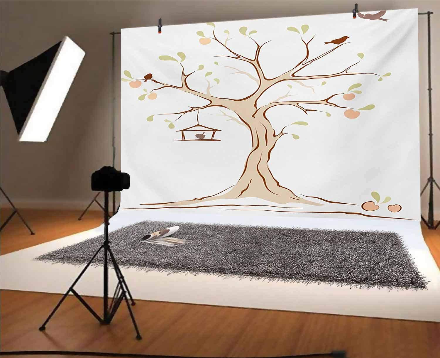 Tree of Life 20x10 FT Vinyl Photo Backdrops,Mature Apple Tree with Fying Birds and The Nest Fruit Family Nature Food Image Background for Selfie Birthday Party Pictures Photo Booth Shoot
