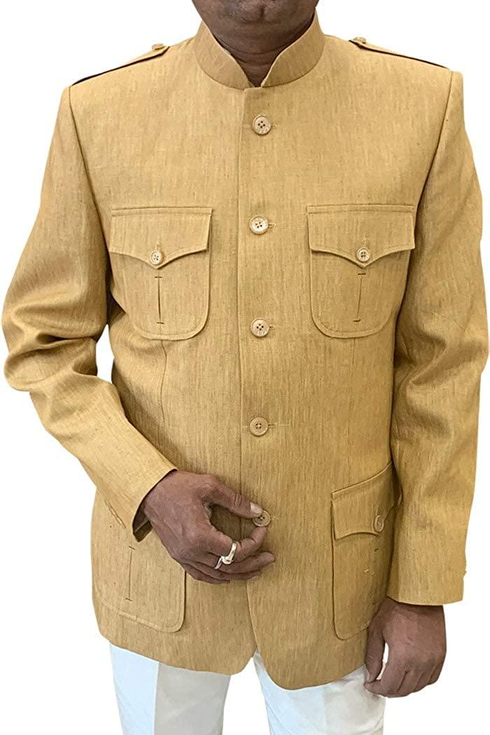 INMONARCH Burlywood Mens Chinese Mandarin Collar Safari Style Indian Nehru Jacket NJ0124XL46 46 X-Long Burlywood