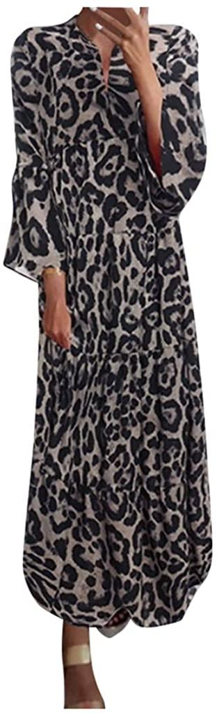 Women Dresses Caual SFE Winter Sexy Leopard Print Long Sleeve Long Dresses Elegant Casual Work Dresses Plus Size