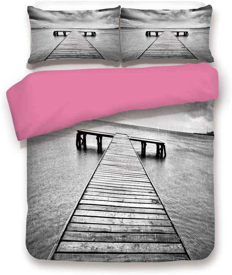 LCGGDB Twin Size Pink Back Duvet Cover Set,Old Wooden Pier on Sea Dramatic Sky Heavy Clouds Rainy Weather Decorative 3 Piece Bed Sets,1 Comforter Cover with 2 Pillow Shams,Black White
