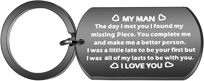 to My Men Key Chain Anniversary Birthday Jewelry for Husband Boyfriend I Love You Key Chain Key Ring from Girlfriend Wife