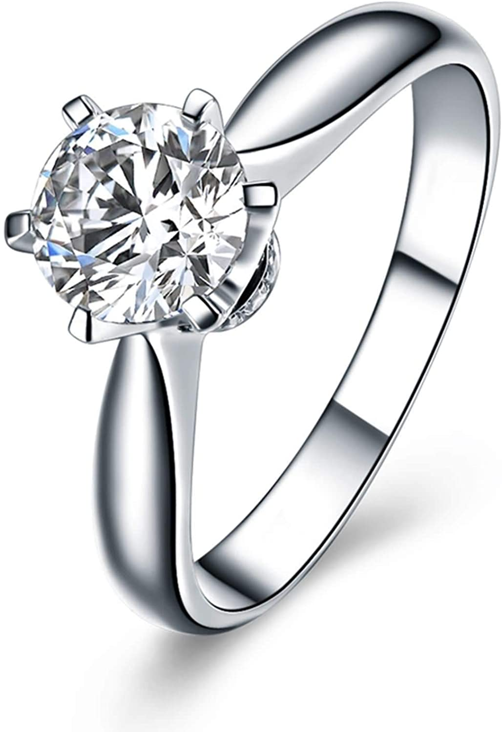 Aokarry Women's 18K White Gold Solitaire Engagement Ring Six-Claw Diamond