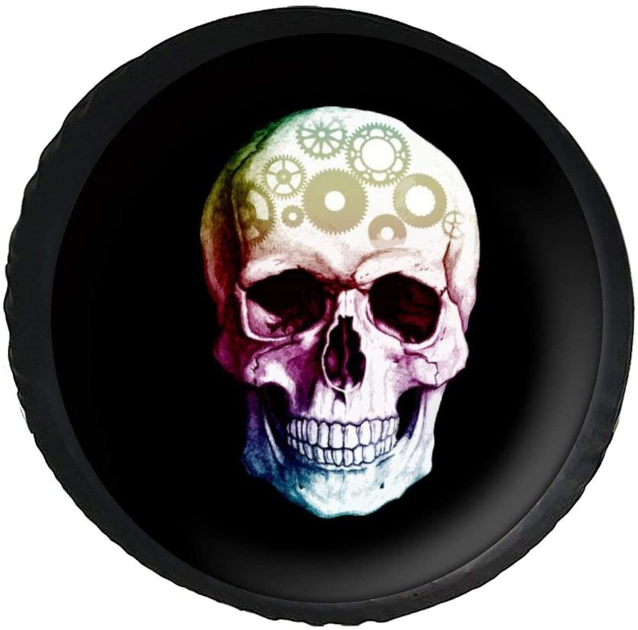 DONL9BAUER Spare Tire Cover Gear Head Skull Universal Leather Spare Wheel Cover Sugar Skull Sunproof Tire Covers for Je_ep Trailer RV SUV Truck Camper Travel and Many Vehicles(14