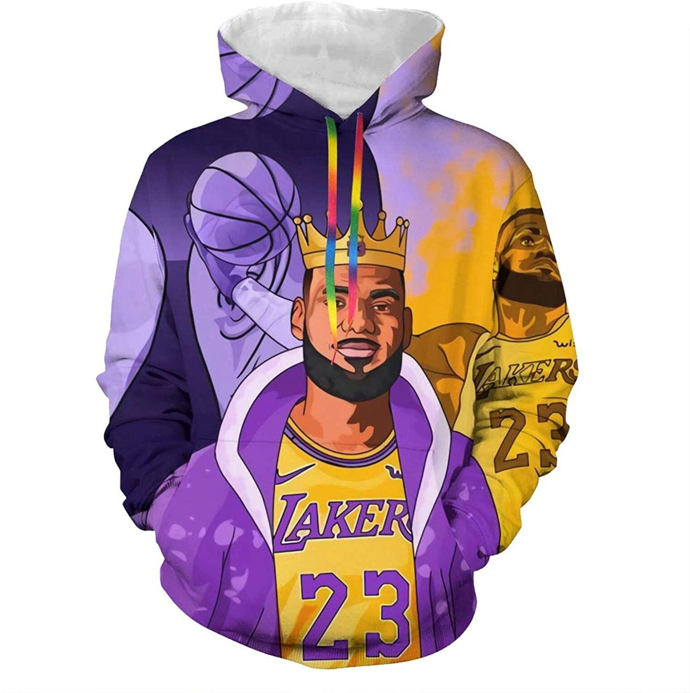 Xutazu Hoodie Sweatshirt 3D Print with A Pocket for Basketball Fans Use