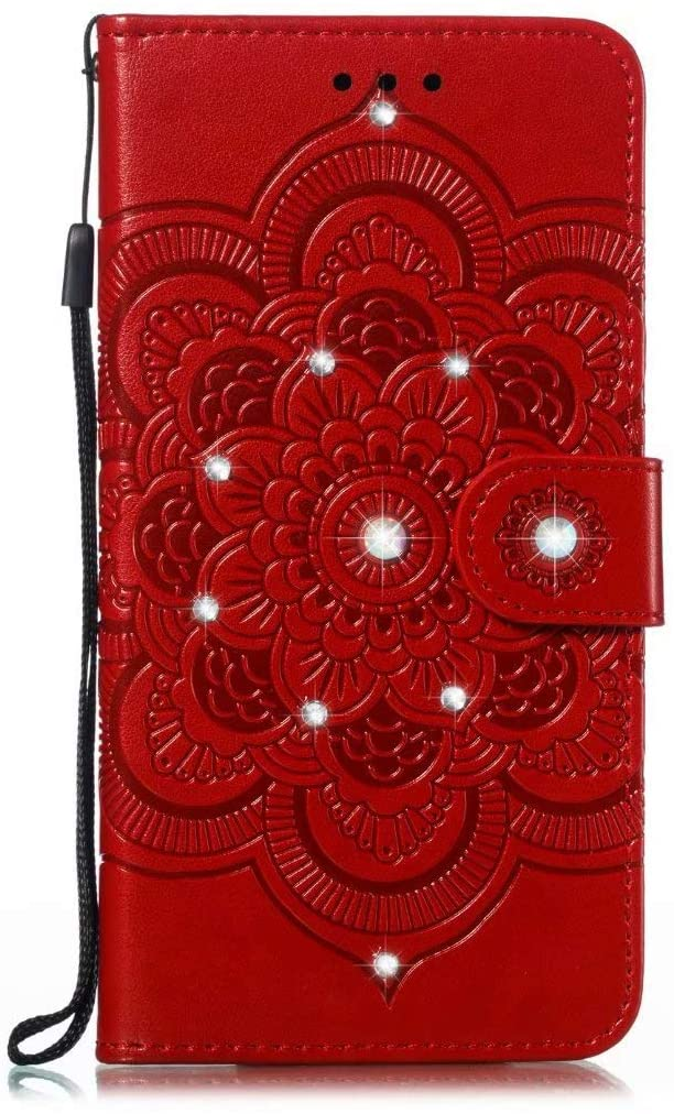 Abtory LG K51S Wallet Case, 3D Bling Flower Printed Magnetic Case PU Leather Full Body Protective Case with Credit Card Holders, Wrist Strap for LG K51S Red
