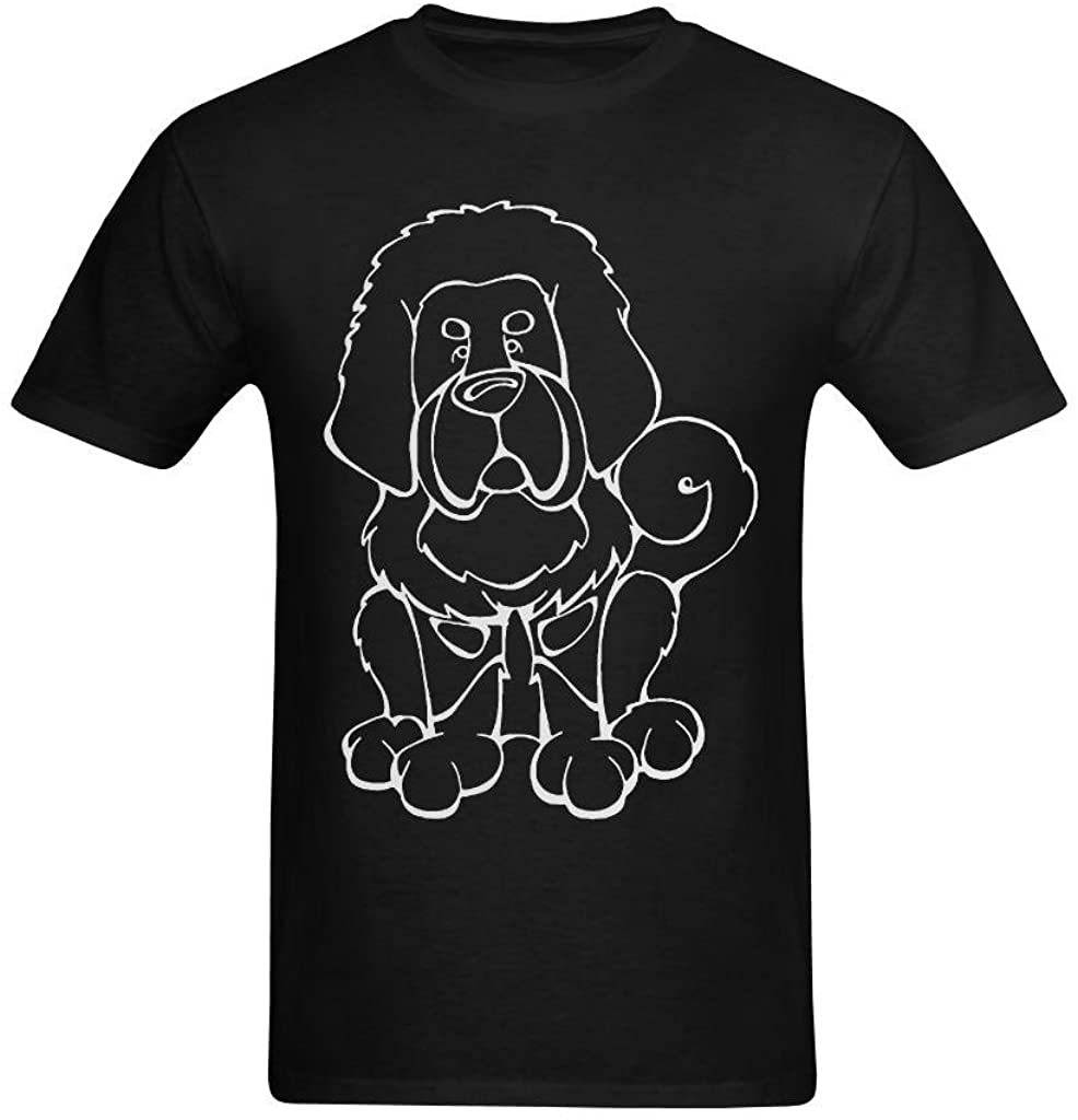 Whose Favor Men's Tibetan Mastiff Balck and White Art Design T-Shirt