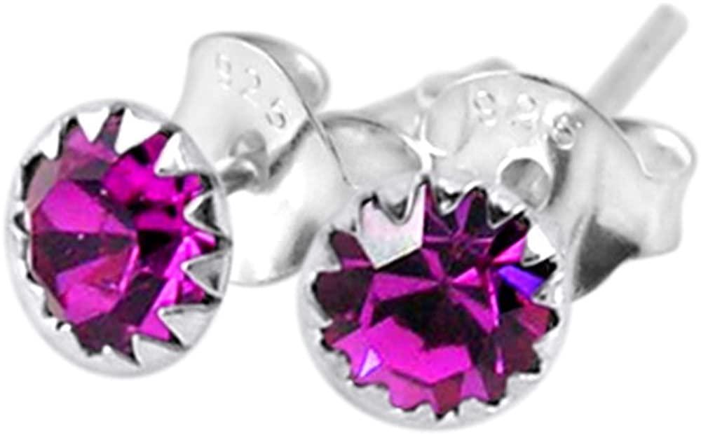 Flower Set Ruby Crystal JULY Birthstone 925 Sterling Silver Stud Earrings