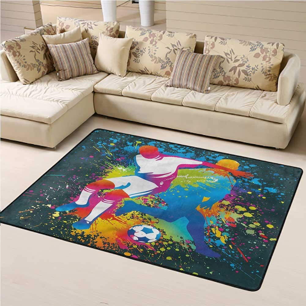 Rugs and Carpets Boys Room Soft Indoor Mat Decorative Carpet Two Soccer Players 6' x 9' Rectangle