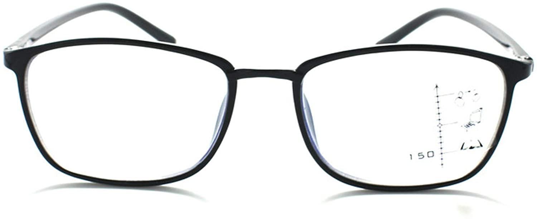 Progressive Multifocal Reading Glasses Women Men Multifocal Blue Light Blocking Computer Reader No Line Multifocal Eyewear(Black 3.0)