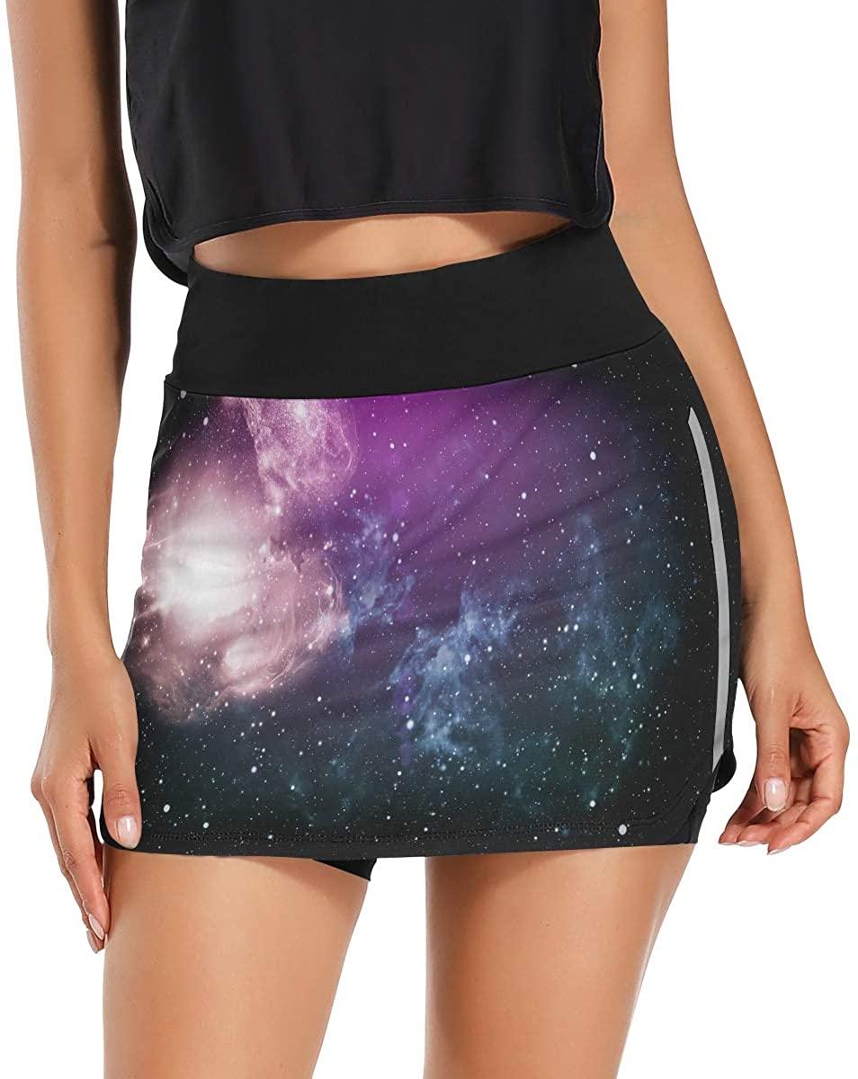 Ladninag High Definition Galaxy Star Field Women Tennis Golf Skorts Skirts with Pockets