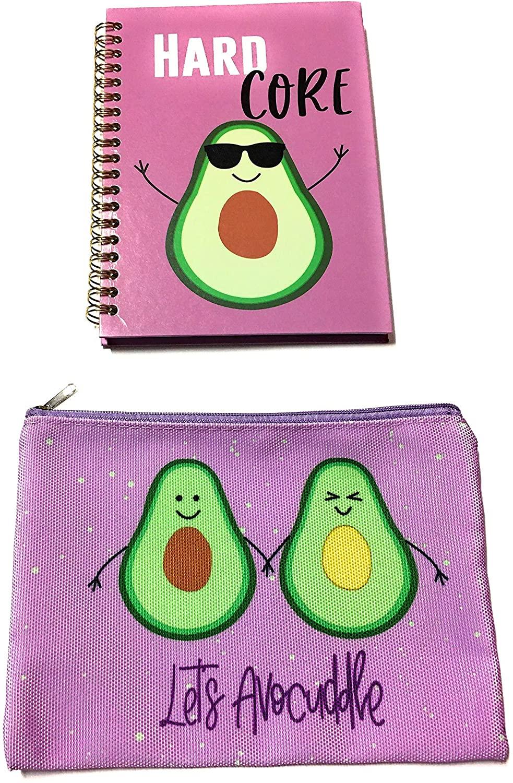Avocado Bundle-Avocado Canvas Multi Purpose Cosmetic Bag, Toiletry Bag, Pencil Bag, Travel Bag, Hair Ties Organizer Bag with Hard Core Spiral Notebook for Women Girls Teens Fun Birthday Gift-2 items