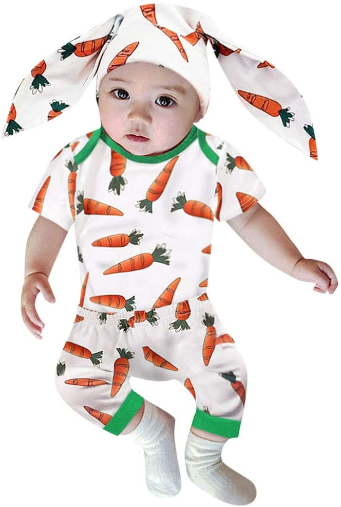 Printasaurus Outfits Clothes for Boy and Girl, Infant Baby Girls Easter Day Carrot Bodysuit Romper+Pants+Rabbit Ears Hat Set, Girls Outfits&Set