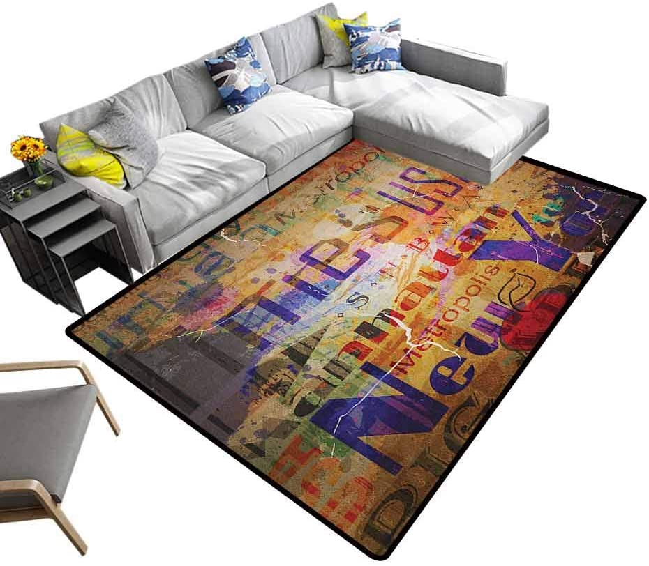 Nursery Rug New York, Contemporary Floor Rug Style Complex Artsy Montage NYC Letters on Magazine Cover Popular Brooklyn with Water Resistant Rubber Back Anti-Slip Multicolor, 6.5 x 10 Feet
