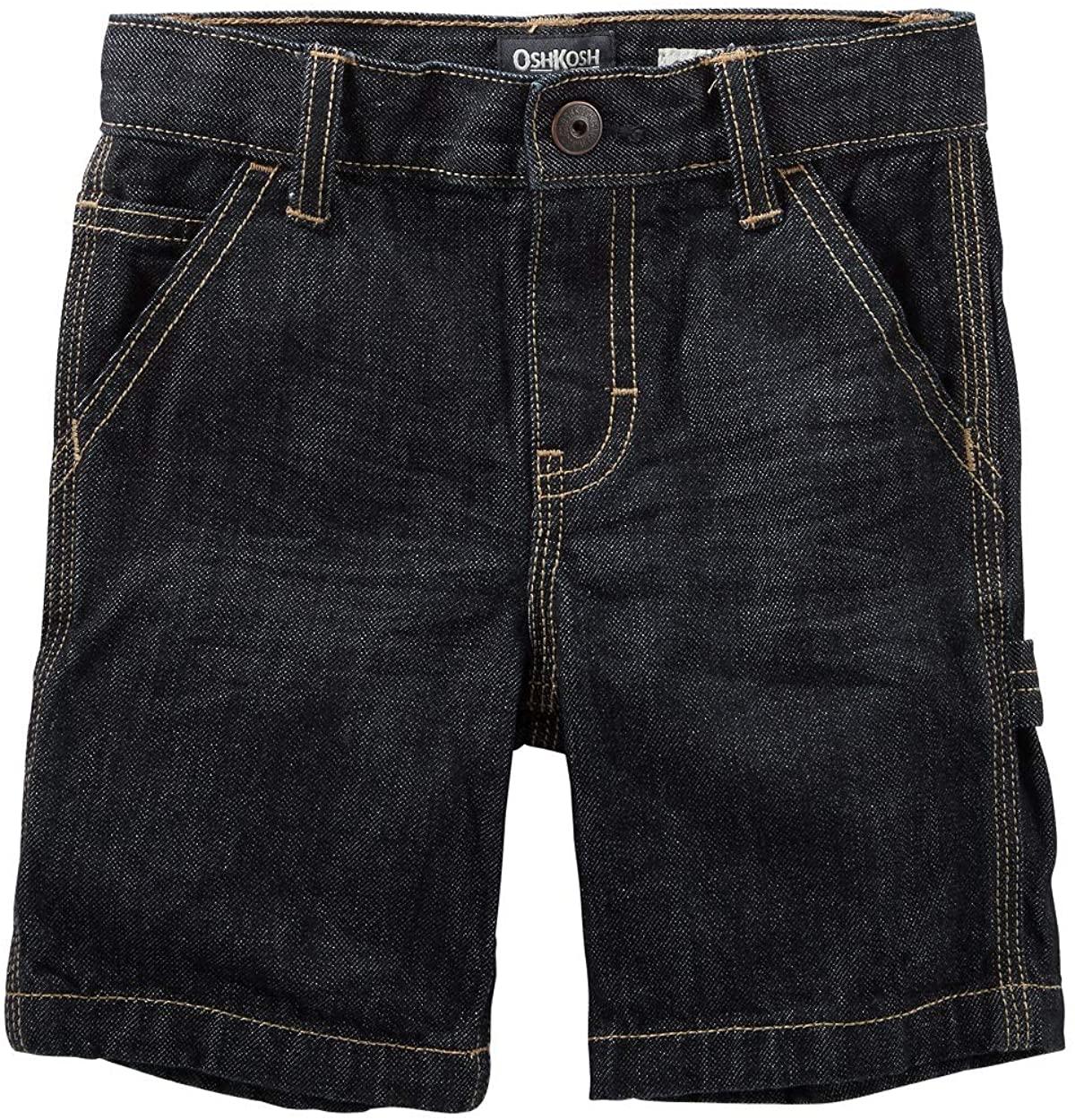 OshKosh B'Gosh Big Boys' Denim Carpenter Shorts - River Dark Wash, 12 Regular