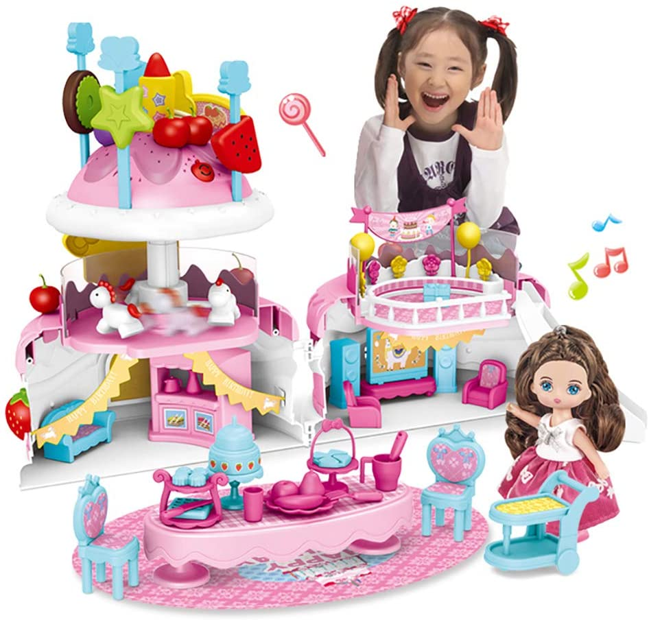 Kaibibi Luxury Birthday Cake Toys, Fun Pretend Play Castle Toy for Girls,Birthday Present for Kids(Blow Out Candy,Fruit Tag,18 Songs,Light, Merry-go-Round