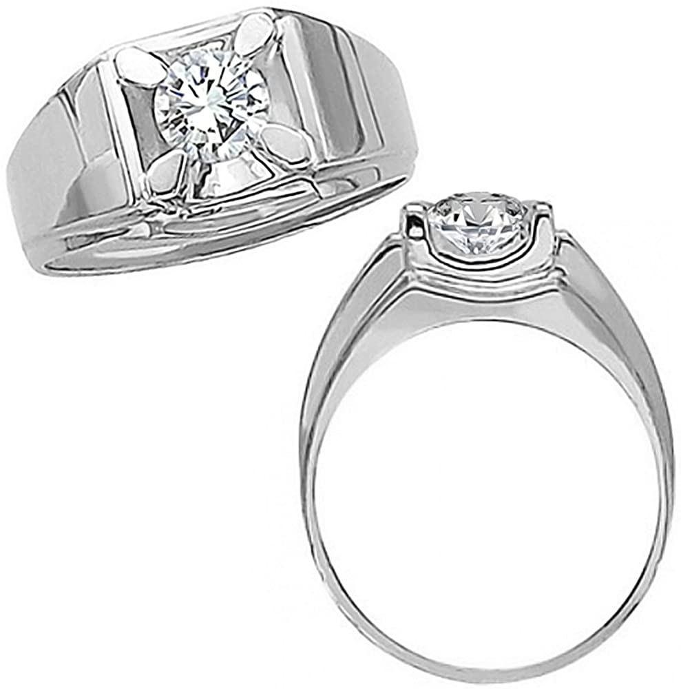 1.00 Carat G-H Diamond Solitaire Mens Man Engagement Wedding Promise Fancy Ring 14K White Gold