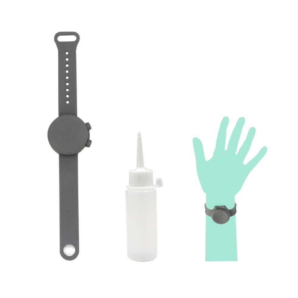 Empty Hand Sanitizer Bracelet Refillable Wearable Hand Outdoor Travel Sanitizer Dispenser Pumps Sports Wristbands (Gray)