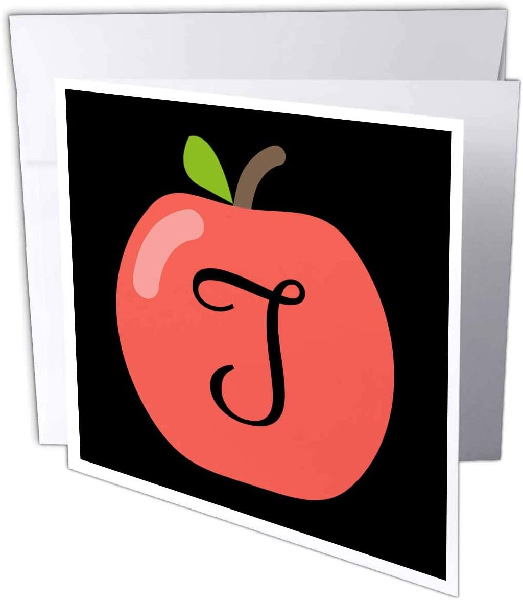 3dRose Stamp City - Typography - Monogram Letter T Inside a red Apple on a Black Background. - 1 Greeting Card with Envelope (gc_324781_5)