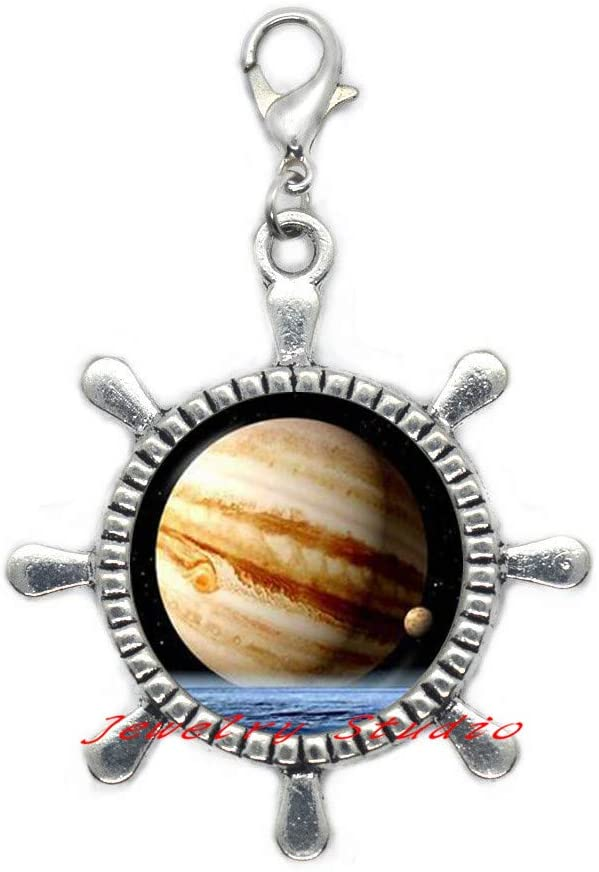 Jupiter Planet Rudder Zipper Pull, Space Astronomy Lobster Clasp, Outer Space Jupiter Jewelry,Solar System Jewelry, Inspirational Women Rudder Zipper Pull, Space Jewelry, Scientist gift-HZ0090
