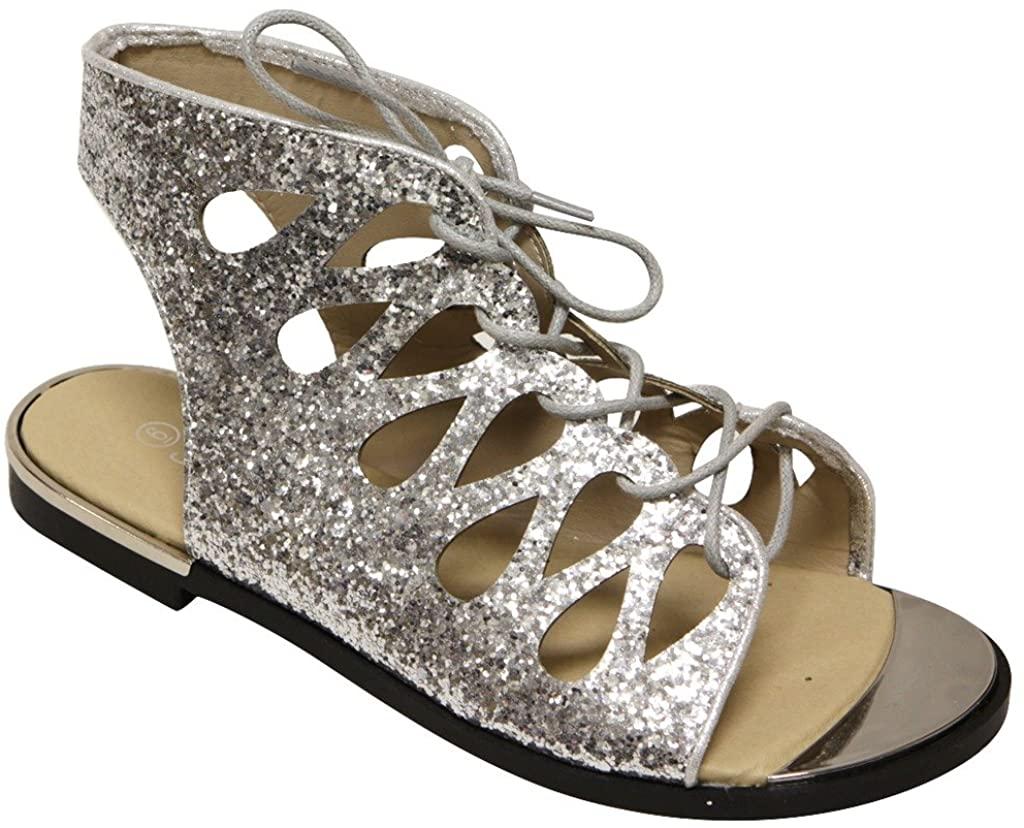 Forever Rosie-32 Women's Metal Trim Toe Glitter Geometric lace up Slingback Flat Sandals Silver 6.5