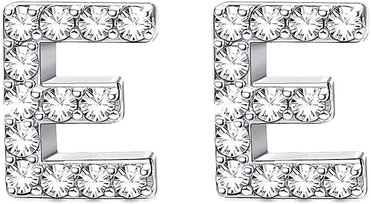 Sllaiss 26 Alphabets Crystal Stud Earrings for Women with Swarovski Crystals Letter Earrings Simple Hypoallergenic Jewelry