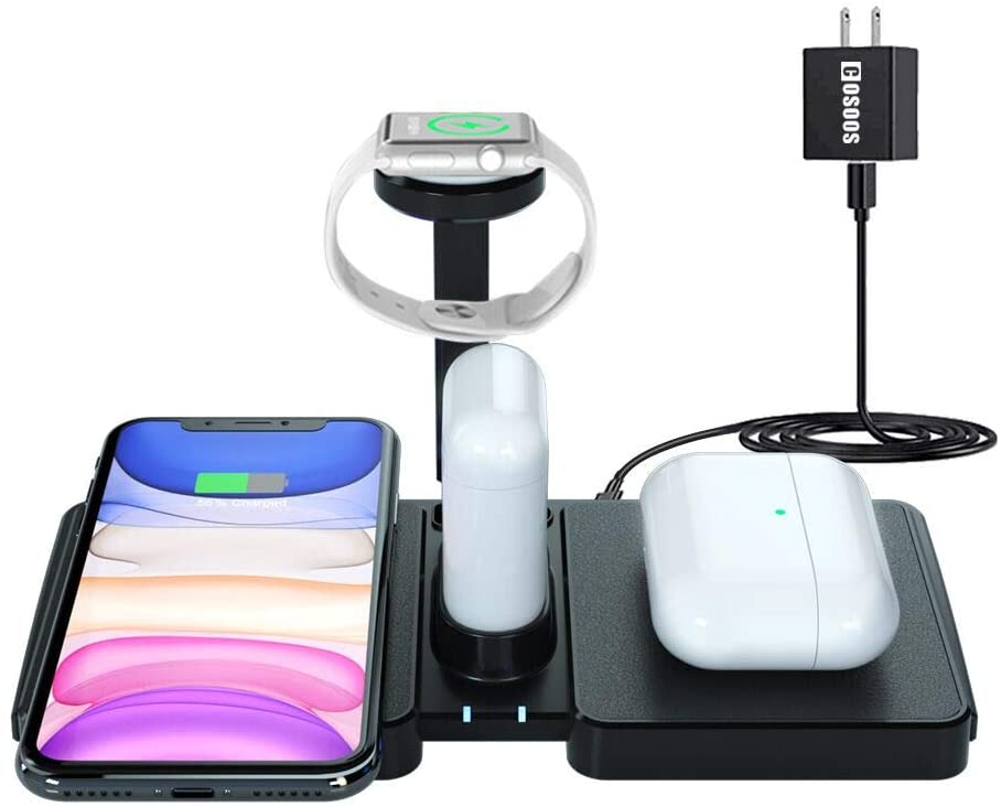 Dual Wireless Charging Station,COSOOS Wireless Charger for iPhone 11 Pro Max/11Pro/Xs/Xr/10/X/8 Plus,Airpods Pro/2/1,Wireless Charger Station for Apple Products with iWatch Stand(No Watch Charger)