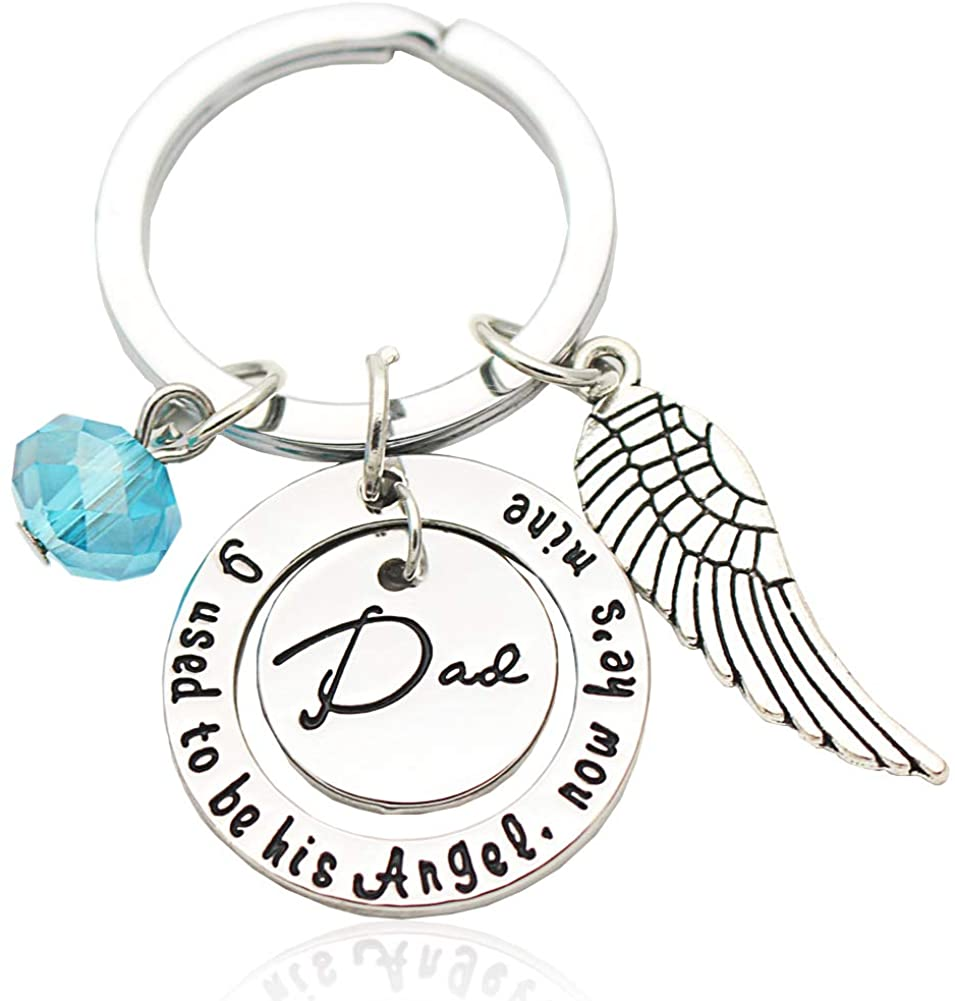 Dad Keychain Gift from Daughter, Engraved Angel Wing Love Key Ring Cute Mini Funny Men Charm Pendent Dog Tag Jewelry Present for Birthday, Father's Day,Christmas, Thanksgiving, Wedding