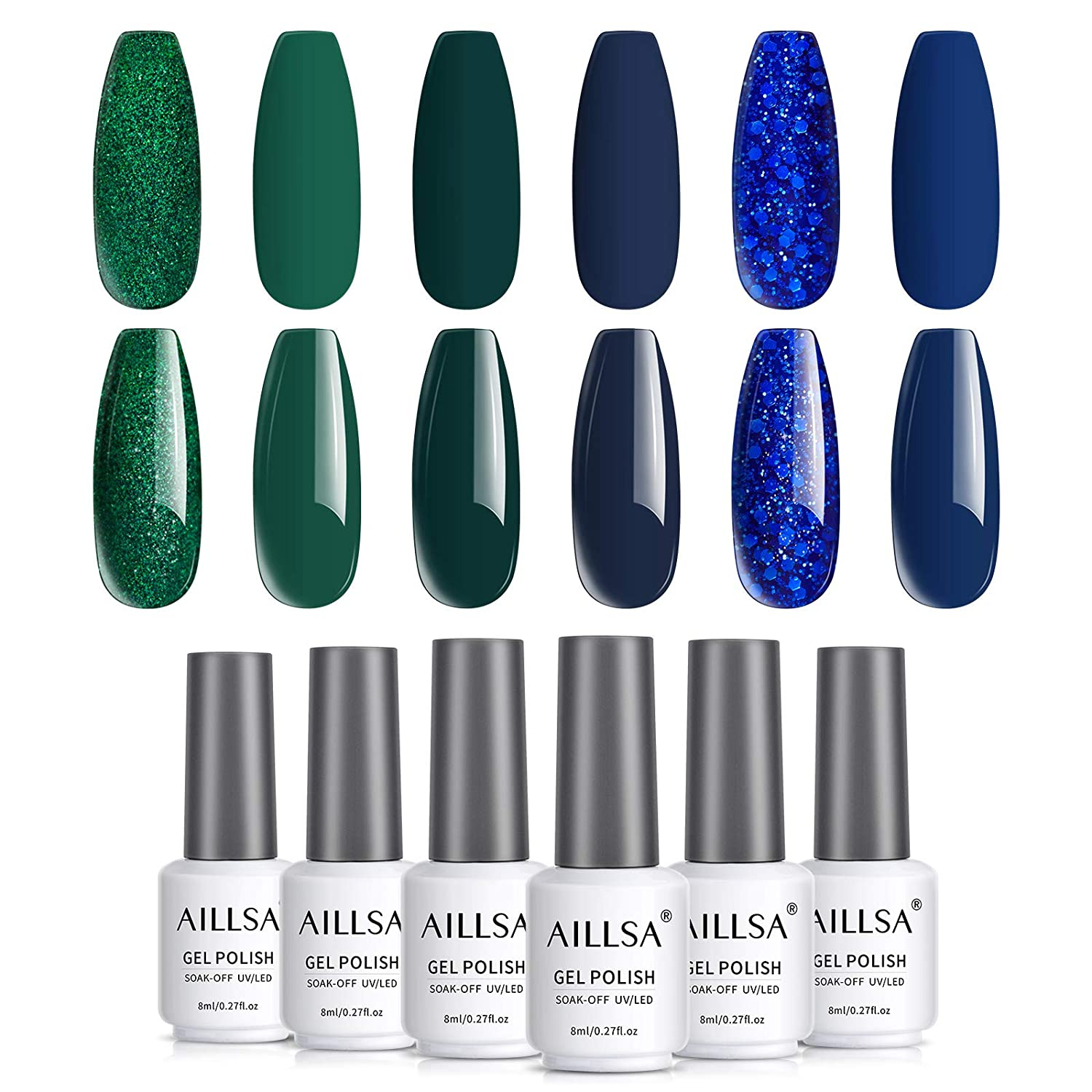 AILLSA Teal Blue Gel Nail Polish Set, 6 Colors Glitter Royal Blue Gel Polish Kit Green Glitter Nail Gel Polish Set, Soak Off UV LED Gel Nail Art Gift Box