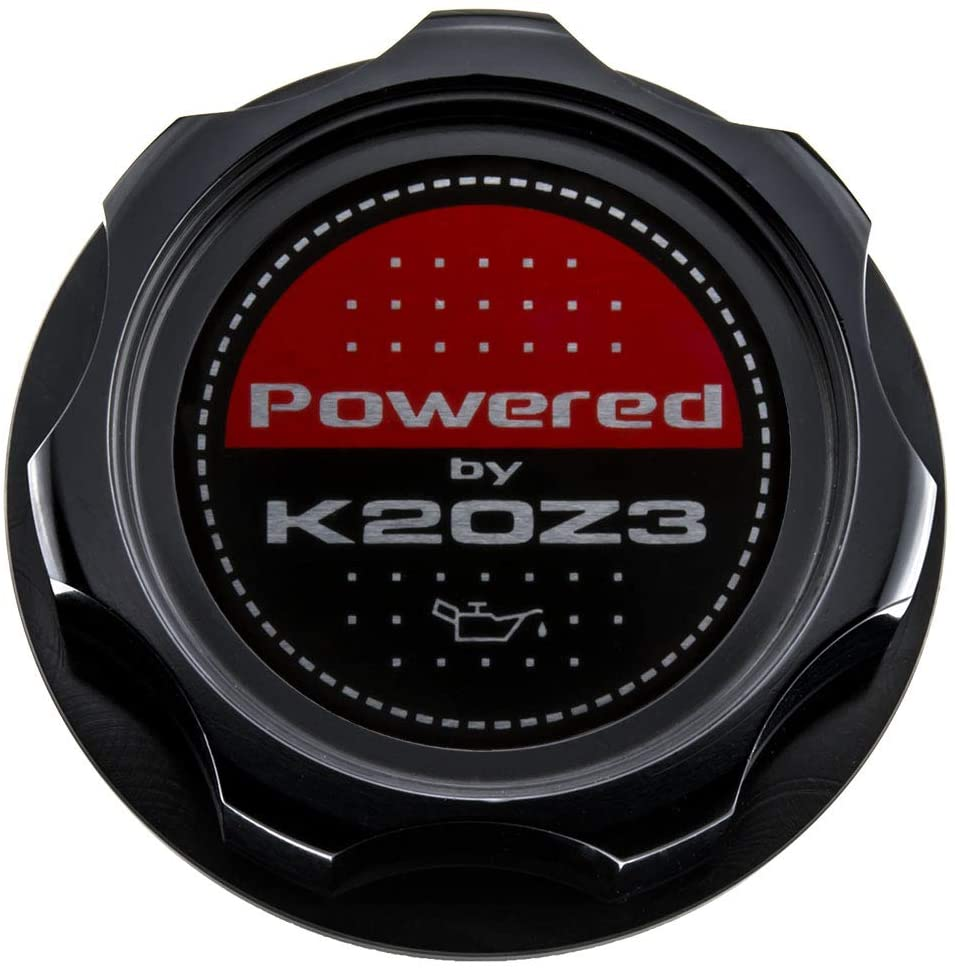 VMS RACING BLACK OIL CAP with Powered by K20Z3 Emblem in CNC Machined Billet Aluminum Compatible with Honda Civic Si Acura CSX Type S 06-11 2006-2011