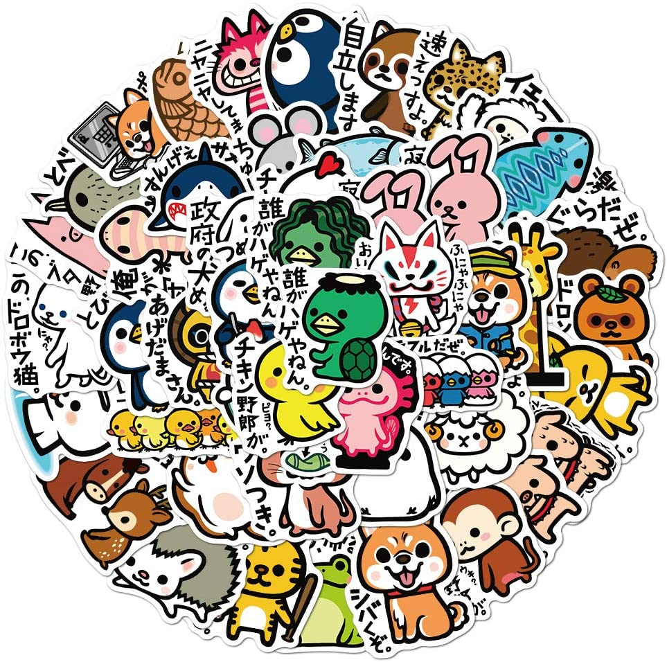50PCS Animal Cartoon Sticker Vinyl Waterproof Stickers Pack Anime Kawaii Japanese Stickers DIY Decorative Craft Photo Albums for Laptop Gifts for Girls, Kids, Teens and Adults