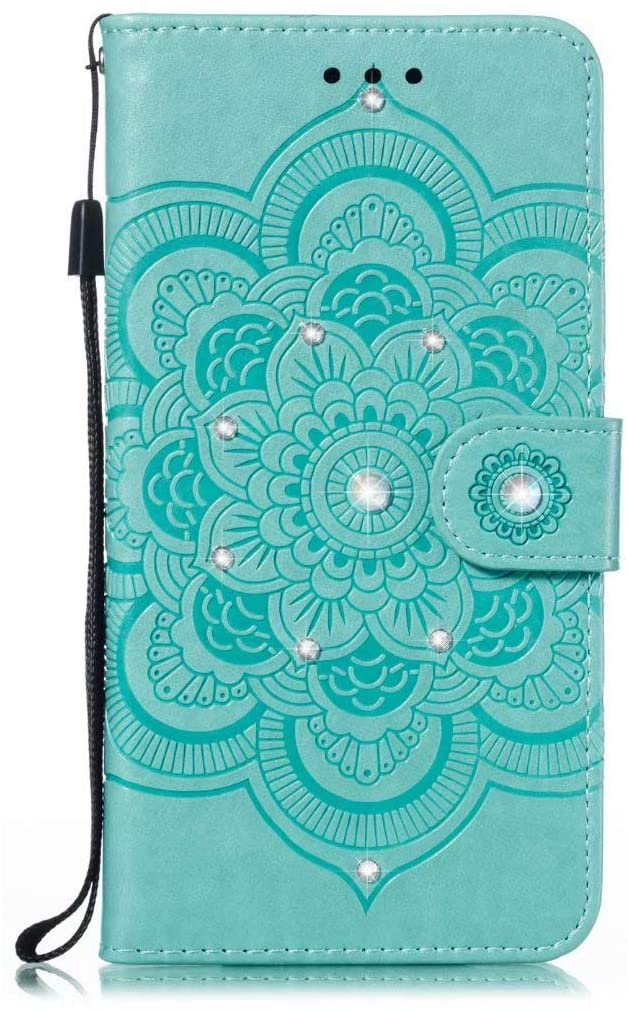 Abtory Xiaomi Redmi K30 Pro Wallet Case, 3D Bling Flower Printed Magnetic Case PU Leather Full Body Protective Case with Credit Card Holders, Wrist Strap for Xiaomi Redmi K30 Pro Green