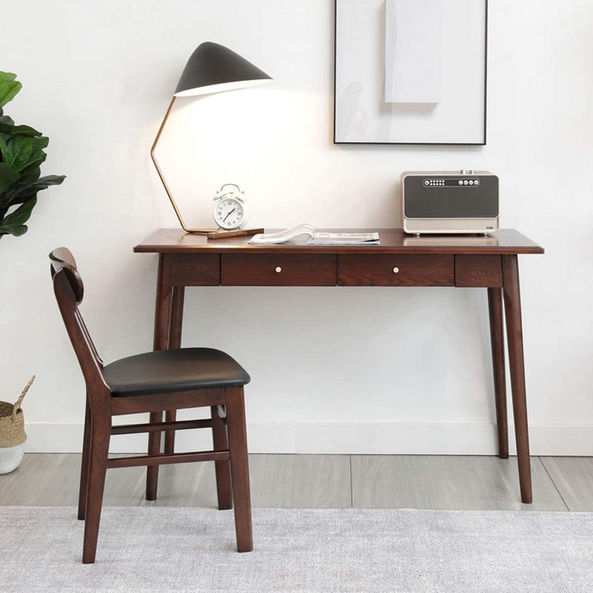 CClz Fillet Computer Desk Table,Solid Wood Laptop Pc Table 3 Drawers,Waterproof Computer Workstation,Modern Nordic Home Office Table