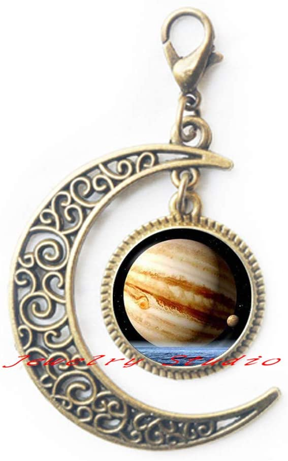 Jupiter Planet Moon Zipper Pull, Space Astronomy Lobster Clasp, Outer Space Jupiter Jewelry,Solar System Jewelry, Inspirational Women Moon Zipper Pull, Space Jewelry, Scientist gift-HZ0090