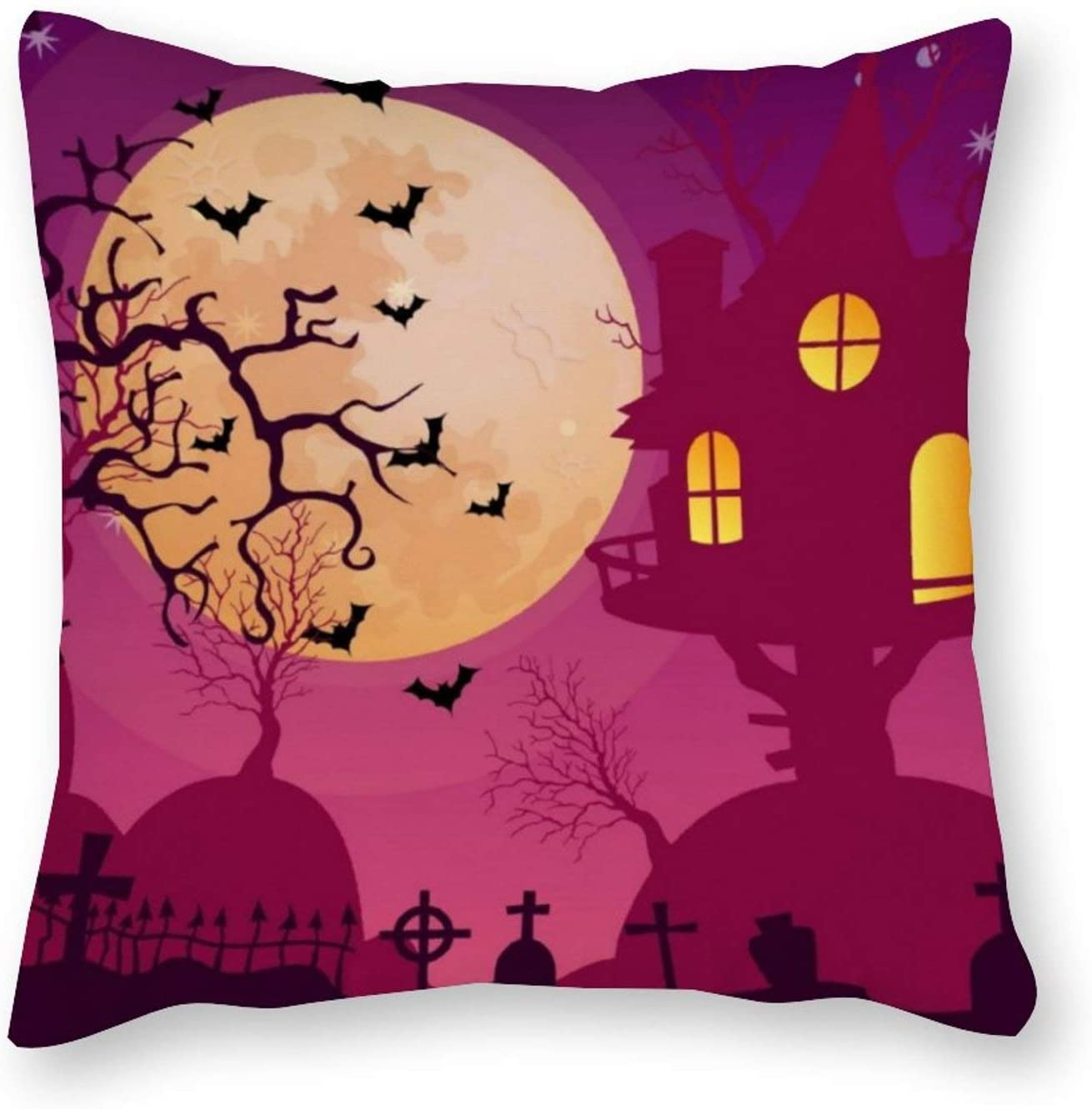 AILOVYO Decorative Canvas Throw Pillow Covers Modern Style Family Pink Halloween Haunted House for Room Bedroom Room Sofa Chair Car