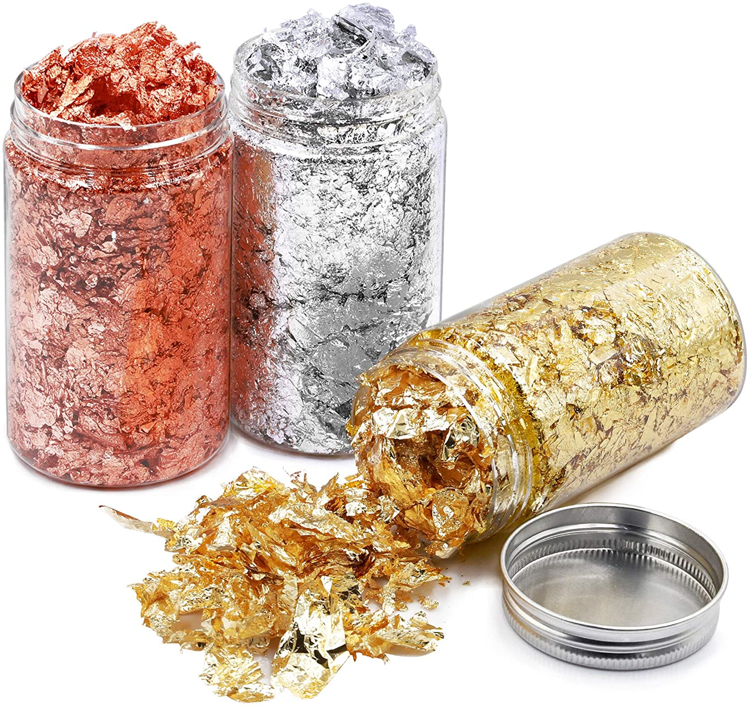 Vignee Gold Foil Flakes for Resin,45 Gram Gilding Foil Flakes for Nails,Gold Foil Flakes Metallic Leaf for Nails,Painting, Crafts, Slime and Resin Jewelry Making(Gold,Silver,Copper Colors)