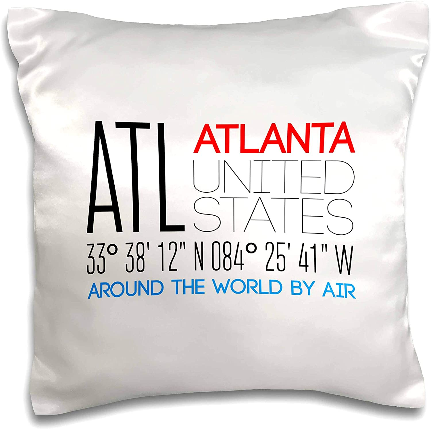 3dRose Alexis Design - Around The World By Air - Decorative text ATL Atlanta, United States, coordinates - 16x16 inch Pillow Case (pc_303788_1)