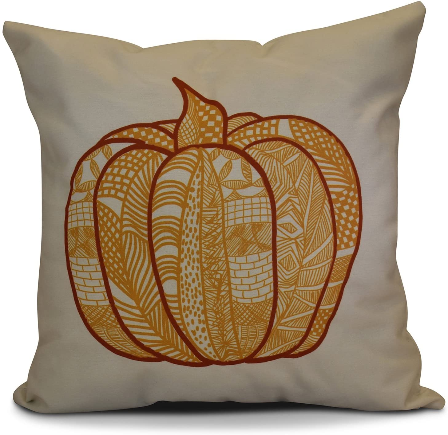 E by design PHGN714YE13-26 26 x 26-inch, Pumpkin Patch, Geometric Print, 26x26, Yellow
