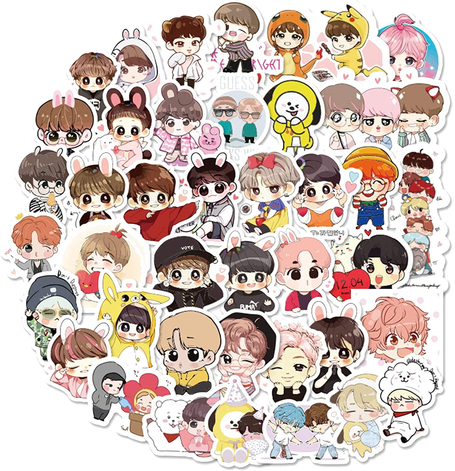 BTS Stickers 40pcs Decals for Laptops Water Bottles Toys and Gifts Cars Stickers Cartoon Anime Aesthetic Sticker Pack for Teens, Girls, Women(Cute BTS)