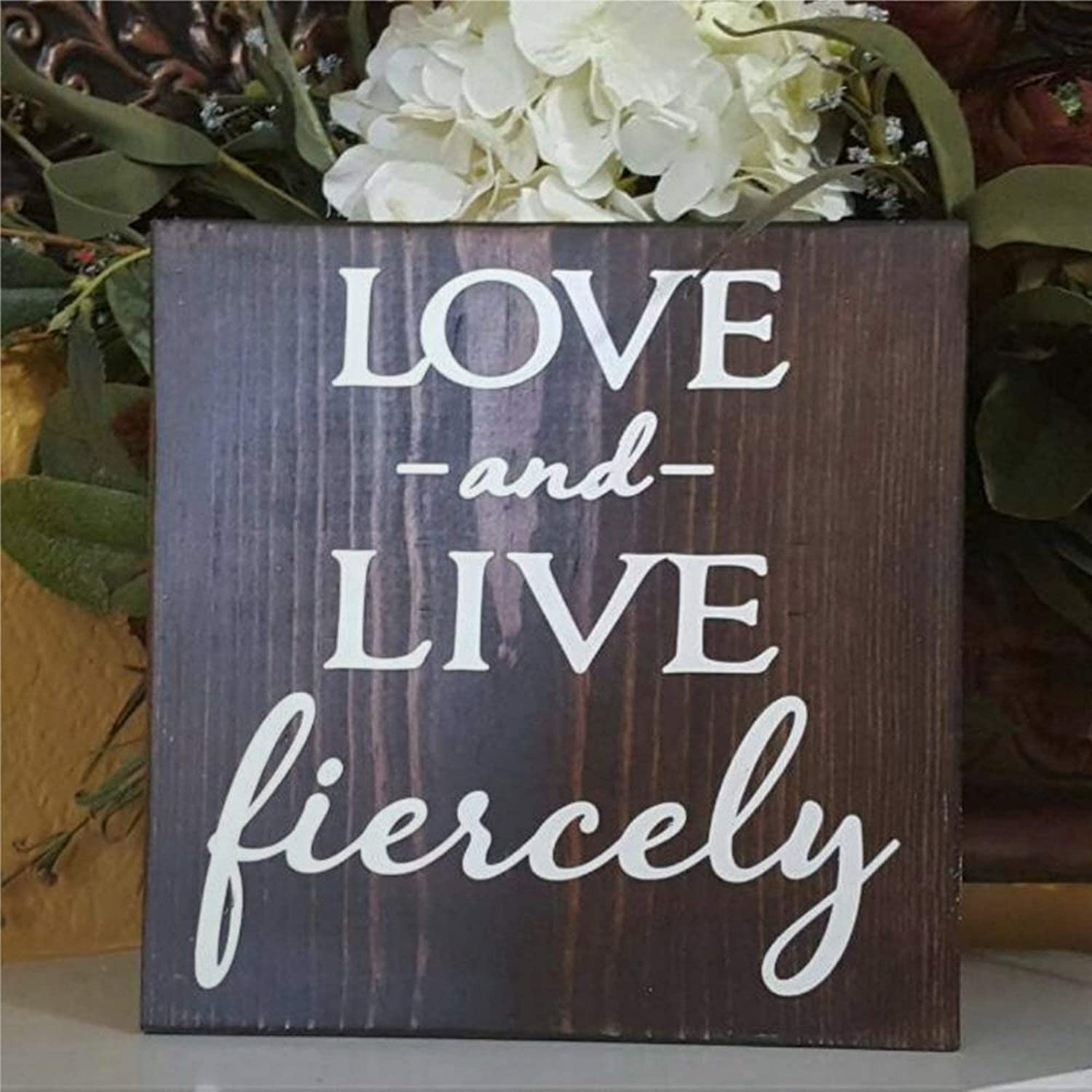 DONL9BAUER Love and Live Fiercely Wood Sign,Farmhouse Wedding Couple Rustic Inspirational Wood Wall Decor Sign, Wooden Plaque Art for Home,Gardens, Porch, Gallery Wall, Coffee Shops.