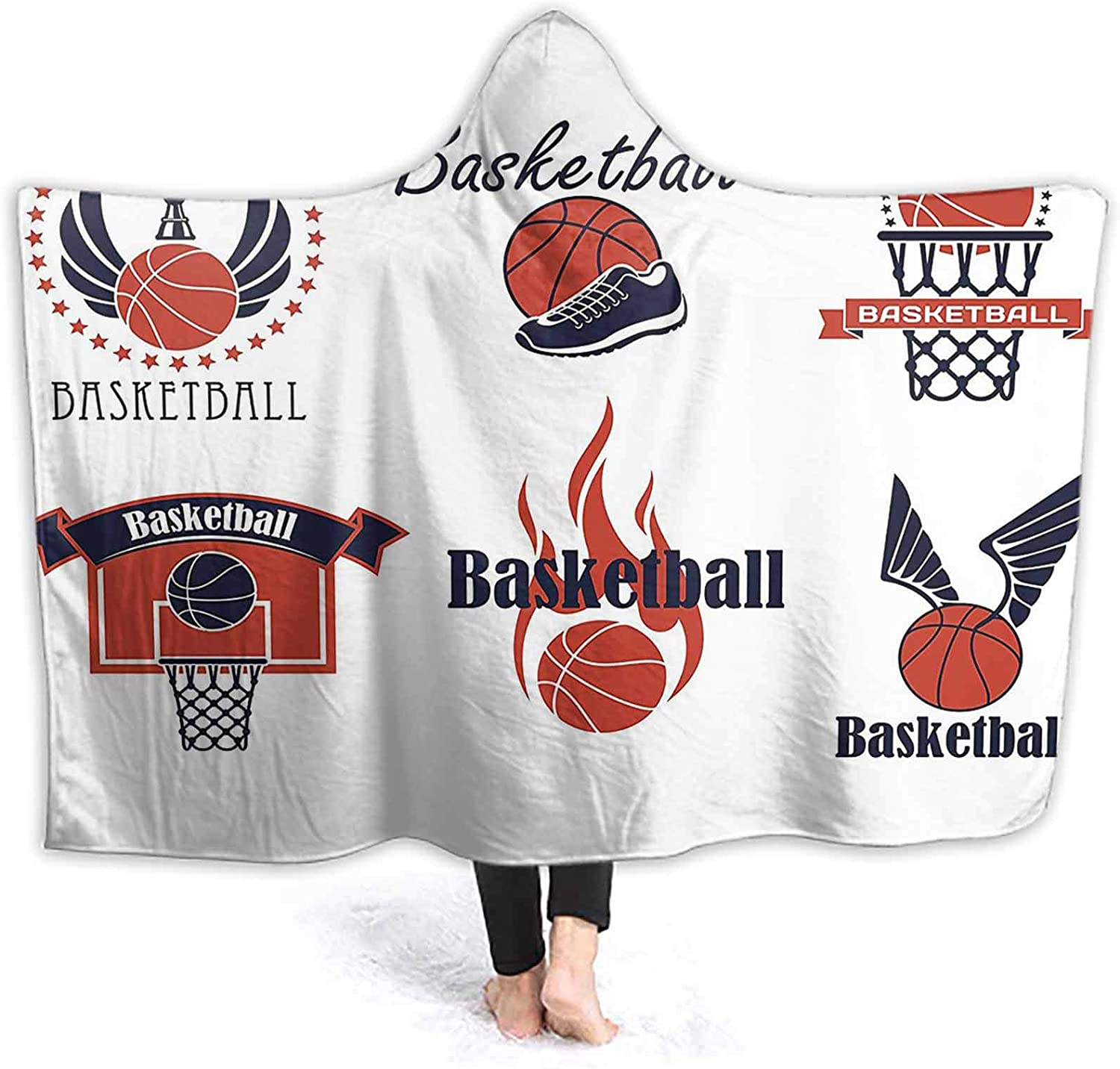ThinkingPower Hooded Blanket and Winged Flaming Ball Sho Ring Trophy Cup Windproof Hoodie Blanket Soft Touch and Excellent Hand Feeling 80 x 60 Inch