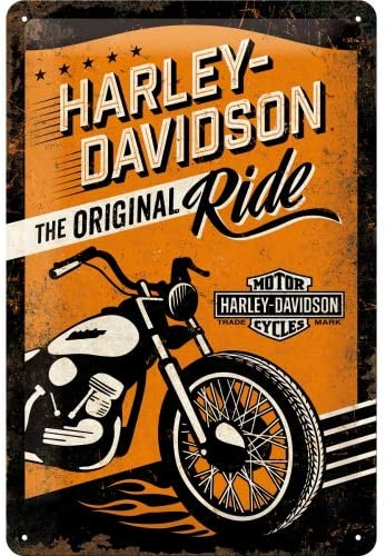 Nostalgic-Art Retro Tin Sign – Harley-Davidson Original Ride – Gift idea for motorcycle fans, Metal Plaque, 20 x 30 cm