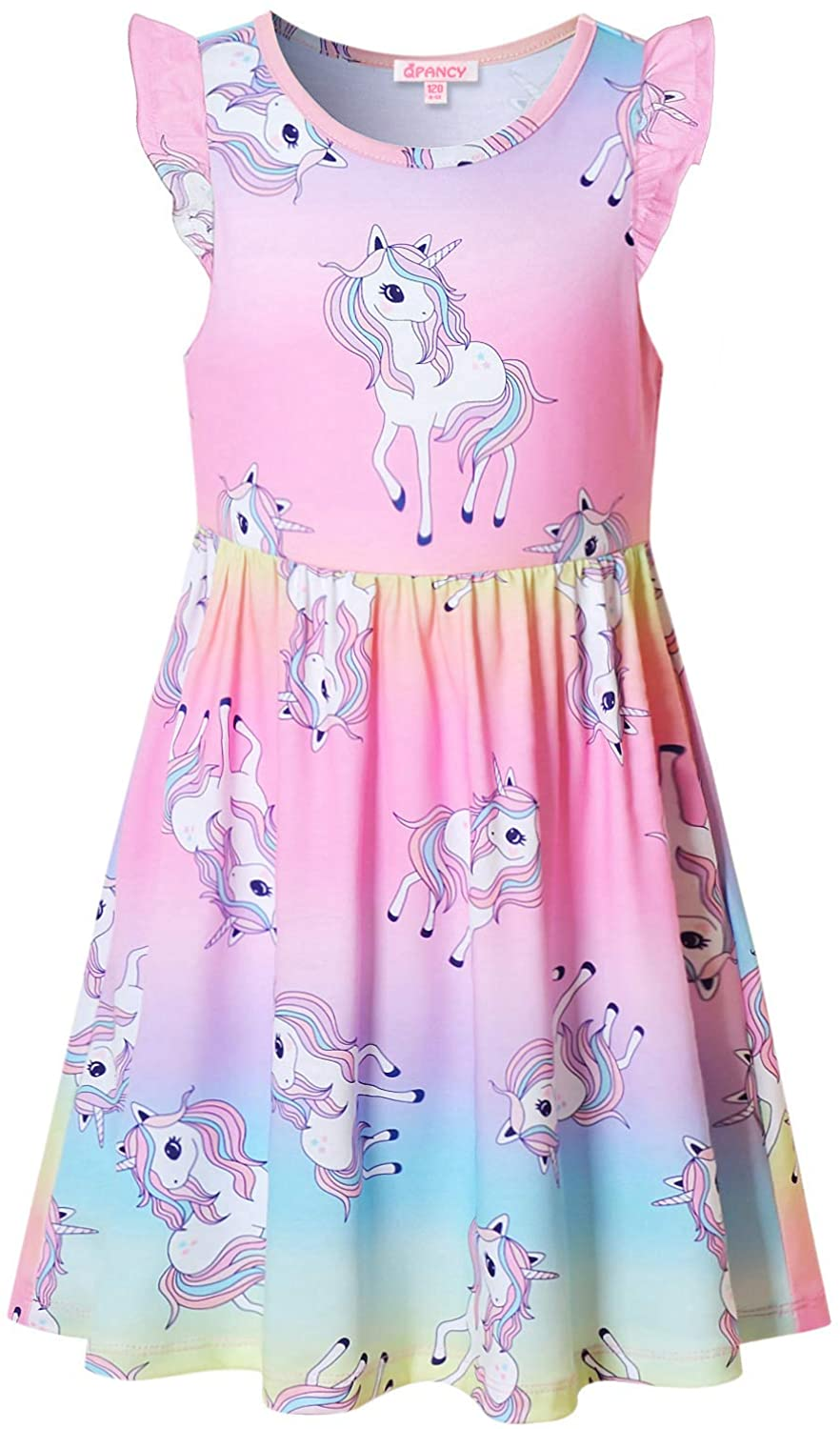 Girls Unicorn Dresses Summer Flutter Sleeve Rainbow Party Clothes for Kids